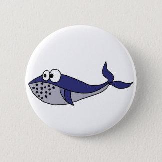 Funky Blue Whale Cartoon Design 6 Cm Round Badge