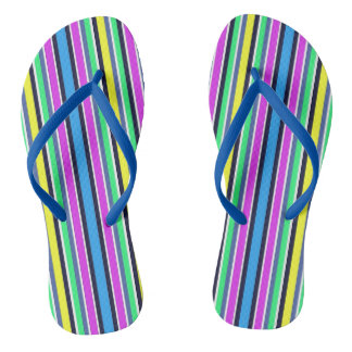 Funky Blue Yellow and Pink Striped Flip Flops Thongs