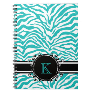 Funky Blue Zebra Print with Ribbon Monogram Spiral Notebook
