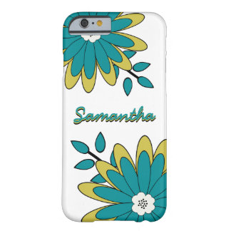 Funky Boho Chic Bright Floral with Personalization Barely There iPhone 6 Case