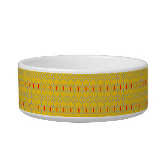 funky bold on mustard pet dog bowl