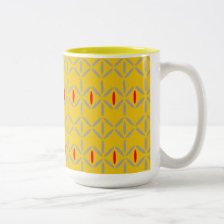 funky bold on mustard two tone mug