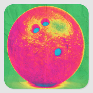 Funky bowling ball square sticker