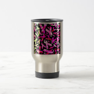 Funky Breast Cancer Ribbons Stainless Steel Travel Mug