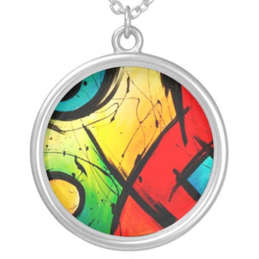 Funky Bright Abstract Art Painting Personalized Necklace
