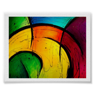 Funky Bright Abstract Art Poster