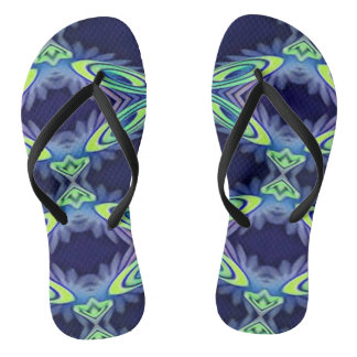 Funky Bright Artistic Abstract Summertime Fashion Thongs