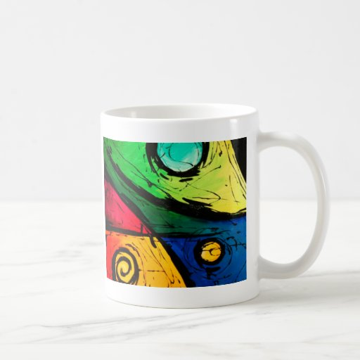 Funky bright colours abstract art coffee mugs zazzle - Funky espresso cups ...