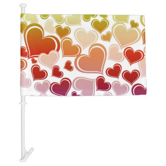Funky Bright Hearts Pattern Car Flag