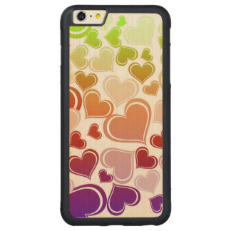 Funky Bright Hearts Pattern Carved® Maple iPhone 6 Plus Bumper Case