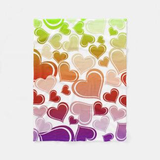 Funky Bright Hearts Pattern Fleece Blanket