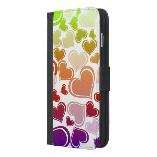 Funky Bright Hearts Pattern iPhone 6/6s Plus Wallet Case