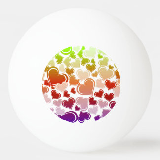 Funky Bright Hearts Pattern Ping Pong Ball