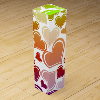 Funky Bright Hearts Pattern Wine Gift Box