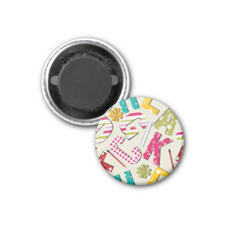 Funky Bright Letters with Patterns Refrigerator Magnets