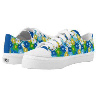 Funky bright spring daisies printed shoes
