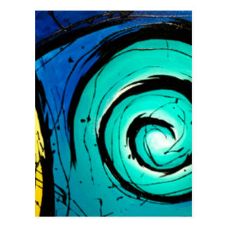 Funky Bright Swirls Abstract Art Painting Post Cards
