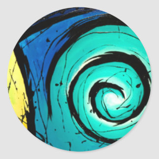 Funky Bright Swirls Abstract Art Painting Round Sticker