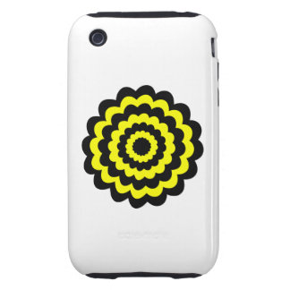 Funky bright yellow and black flower. tough iPhone 3 cover