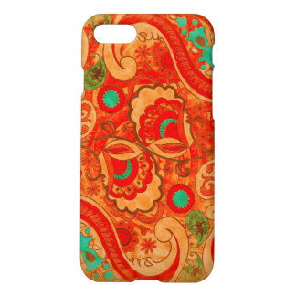 Funky Burnt Orange Red Turquoise Vintage Paisley iPhone 7 Case
