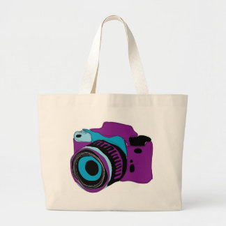 Funky camera graphic illustration large tote bag
