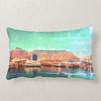 Funky Cape Town Harbor Table Mountain Throw Pillow