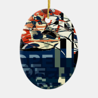 Funky Cat Abstract Ceramic Ornament