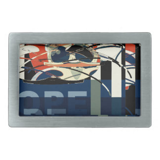 Funky Cat Abstract Rectangular Belt Buckles