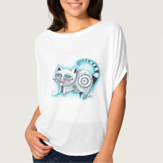 Funky Cat Flowy Circle Top - White