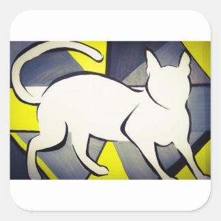 Funky Cat Square Sticker