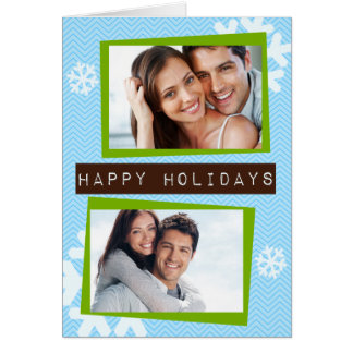 Funky Chevron Label Folded Holiday Greeting Card