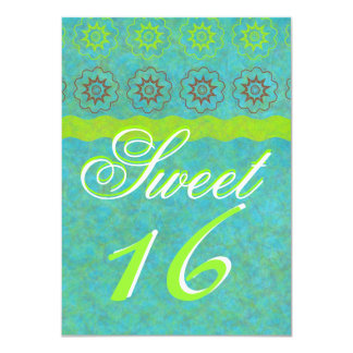 funky chic blue and green sweet sixteen party personalized announcement