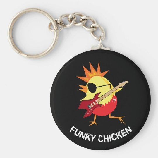 Funky Chicken Basic Round Button Key Ring