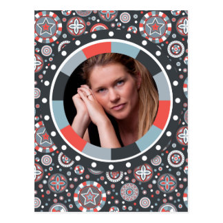 Funky Circle frame - Grey and Red on pattern Postcard