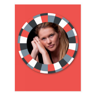 Funky Circle frame - Grey and Red on red Postcard
