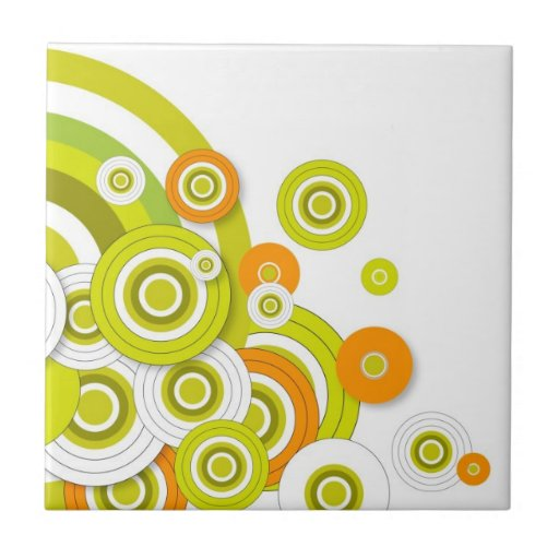 Funky circles green and orange customised products ceramic tile