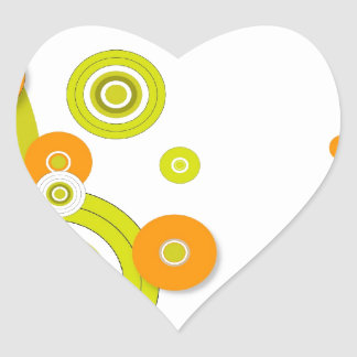 Funky circles on white heart sticker