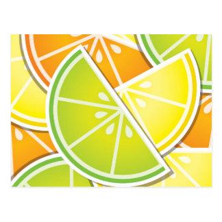 Funky citrus wedges postcard