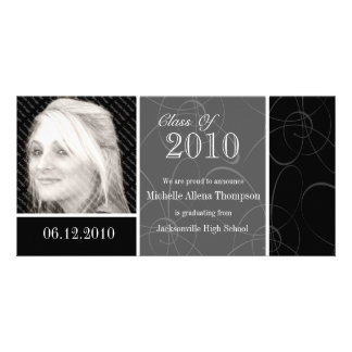 Funky Classic Black Swirls Graduation Photo Card