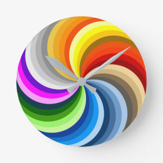 FUNKY COLOR SWIRL ROUND CLOCK