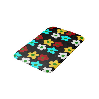 Funky Colorful Big Flowers with Black Background Bath Mat
