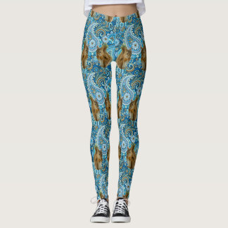 Funky Colorful  Flowers and  Squirrels Leggings