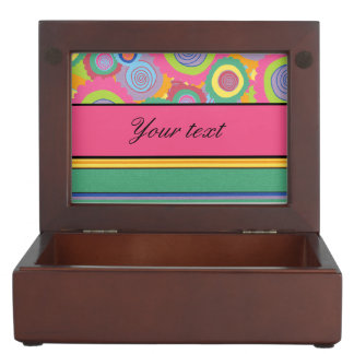 Funky Colorful Flowers and Stripes Keepsake Box