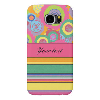 Funky Colorful Flowers and Stripes Samsung Galaxy S6 Cases