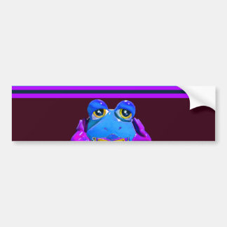 Funky Colorful Frog Blue Purple Funny Gifts Bumper Sticker
