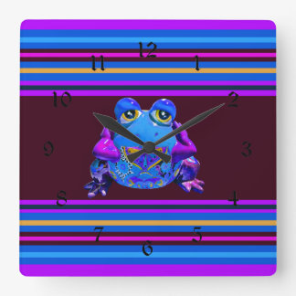 Funky Colorful Frog Blue Purple Funny Gifts Wall Clock