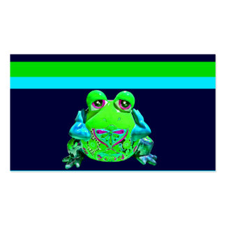 Funky Colorful Frog RELAX Teal Lime Navy Business Card