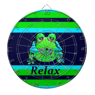 Funky Colorful Frog RELAX Teal Lime Navy Dartboard