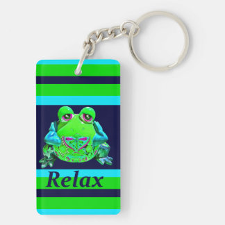 Funky Colorful Frog RELAX Teal Lime Navy Key Ring