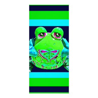 Funky Colorful Frog Teal Lime Business Cards Custom Rack Cards